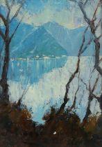 Giuseppe Biraghi (20th Century Italian school) Lago di Como Cadenabbia, signed oil on board,
