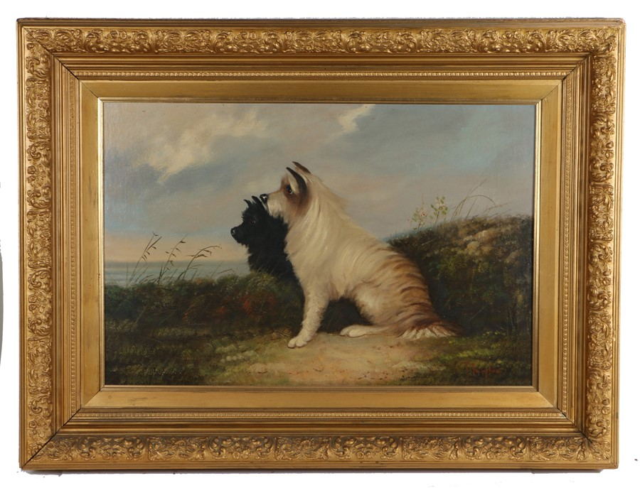 J. Langlois (1855-1904), black and white West Highland terriers in a landscape, signed oil on