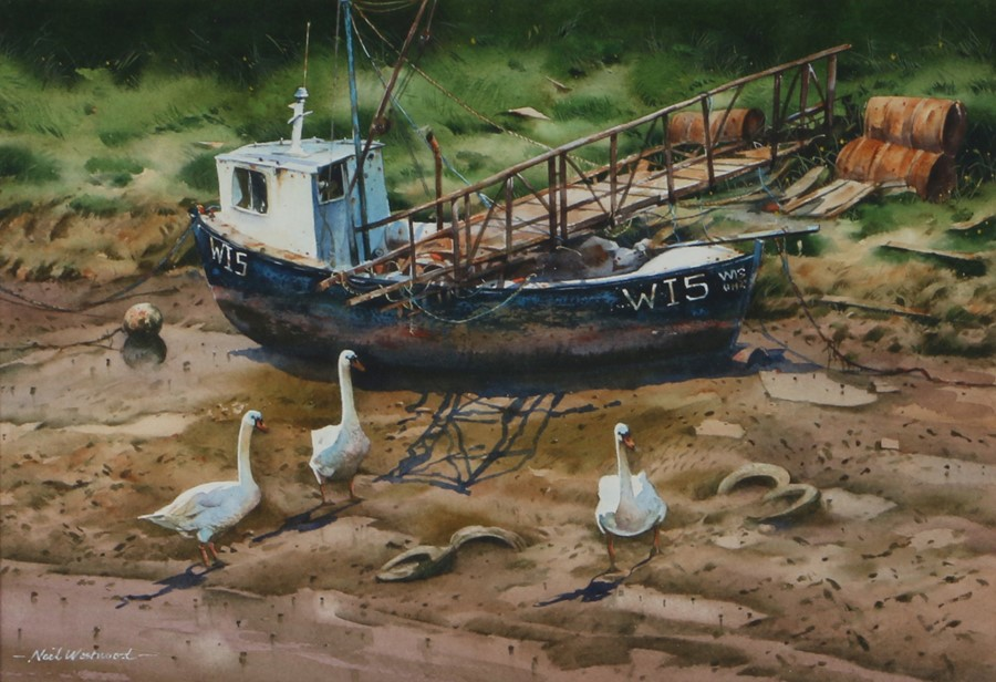 Neil Westwood (Contemporary) Low Tide, signed watercolour, 33cm x 23cm