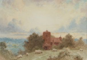 Albert George Stevens (1863-1925), sheep grazing with church to the background, unsigned