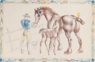 After John R Skeaping, Mare and Foal lithograph, Printed in England at the Baynard Press for