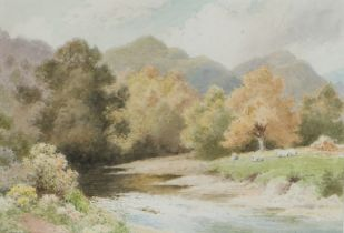 Albert George Stevens (1863-1925), river scene and sheep grazing , unsigned watercolour, housed