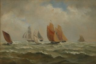 John Moore of Ipswich (British 1820-1902) Sailing boats, signed oil on board, 24cm x 16cm