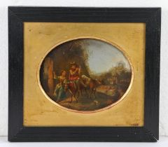 Dutch school, 19th Century, Drovers with cattle and a dog oil on copper, oval 20 x 15cm