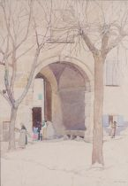 Avril Burleigh (1885-1949) Archway with people, pencil signed watercolour, 27cm x 39cm