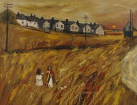 John Ash (1926-1999) Three children in a field by houses, signed oil on board, 91cm x 70cm