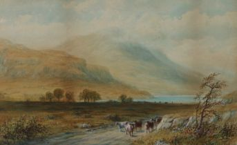 J Morris (19th Century) On the road to Loch Tay, signed watercolour, 47cm x 28cm