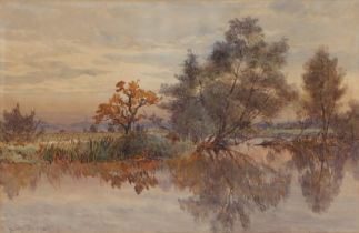 Albert George Stevens (1863-1925), study of a water meadow, signed watercolour, housed within an oak
