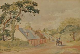 William Scott (British 19th Century) Village lane, signed WM Scott and dated 1881, 54cm x 36cm