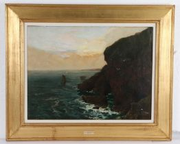 James Campbell Noble (1846-1913) Sailing by a cliff, signed oil on canvas, 59cm x 44cm