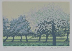 Paul Beck (20th Century) Barnaby's Orchard, pencil signed and titled, numbered 74/100, 15.5cm x