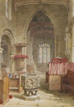 Louise Rayner (British 1832-1924) Interior of a church with a font, 17cm x 24cm