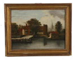 19th Century Provincial school, Pulls Ferry, Norwich, unsigned oil on panel, 39.5cm x 29cm