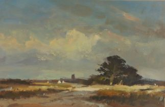 Andrew King (b.1956) Late Summer, View of Aldeburgh Church over pasture 1984, signed oil on board,