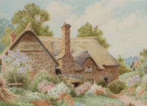 Albert George Stevens (1863-1925), thatched cottage, signed watercolour, housed within a wooden