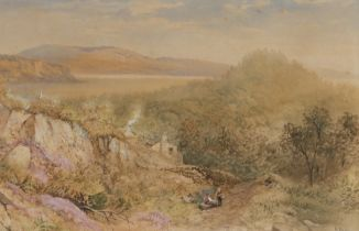 Cornelius Pearson (1805-1891) figures and a cottage in an expansive landscape in Lancashire,