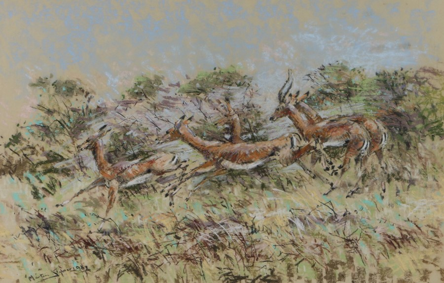 Martin Kidner (Contemporary) Impala, signed and dated 1983 pastel, 66cm x 43cm