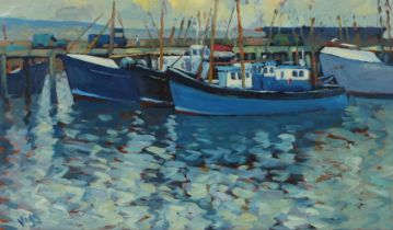 Bob Vigg (1932-2001) Boats by a jetty, signed Vigg, oil on board, 60cm x 35cm