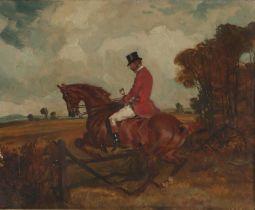 Richard John Munro Dupont (1920–1977) Hunter on horseback leaping a gate, unsigned oil on board,