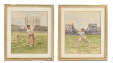 G V George, Pair of watercolours depicting cricketers, signed, 14cm x 16cm, (2)
