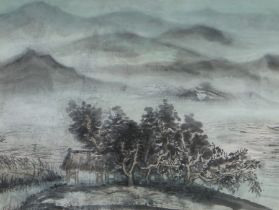 """Attributed to Cai Xiaoli (B1956), """"The mist of the lake and the mountains of autumn"""", watercolour,"""