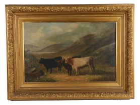 Victorian oil on canvas, highland cattle in a mountainous landscape, signed indistinctly lower left,