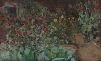 Noel Nisbert (20th Century) Cottage Garden, oil on board, 49cm x 29cm