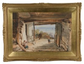 """John Henry Mole (1814-1886), """"At Clovelly, North Devon"""", signed watercolour dated 1884, housed in"""