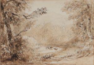 David Cox (1783-1859) Bolton Abbey, signed watercolour sketch, 16cm x 18cm the reverse of the