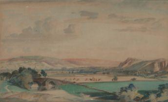 Thomas William Pattison (1894-1983) Wharfedale Yorkshire, initialled TWP watercolour, 30cm x 18cm