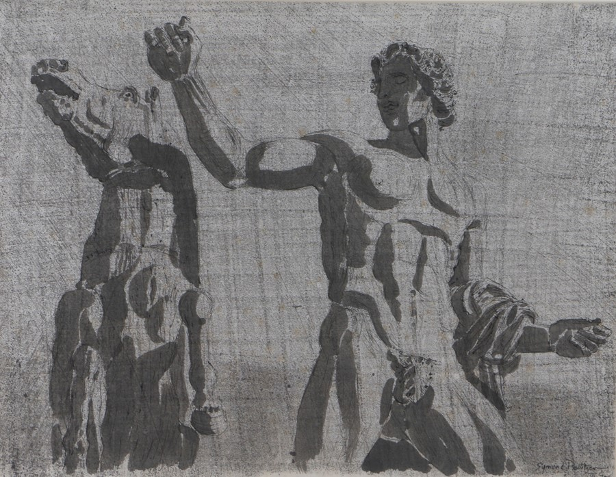 Sigmund Pollitzer (British, 1913-1982) Roman Statue, signed and dated 70, pen and wash, 63cm x