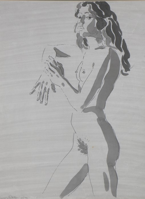 Sigmund Pollitzer (British, 1913-1982) Female Nude, signed and dated 72, pen and wash, 48cm x 64cm