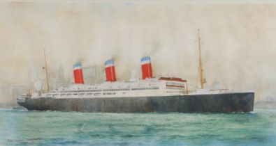 """William Minshall Birchall (1884-1941), """"S.S. 'Leviathan' Leaving New York"""", signed watercolour,"""
