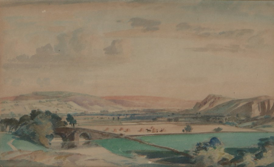 Thomas William Pattison (1894 - 1983) Wharfedale Yorkshire, Initialled TWP watercolour, 30cm x 18cm