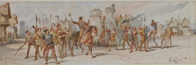 """Charles Cattermole (1832-1900), """"Jack Cade"""" signed and titled watercolour, housed in a gilt glazed"""