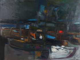 Dennis Buchan RSA (b.1937) Arbroath Harbour, signed and dated oil on canvas 63, 100cm x 75cm