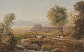 David Cox, OWS (1783-1859) Figures and cattle in a landscape with Harlech Castle in the distance,