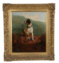 19th Century British school, Terrier and rabbit, unsigned oil on canvas, housed within a gilt