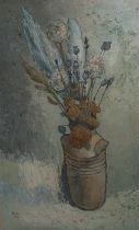 Charles White (1928-1997) Last Summers Flowers, oil on board,