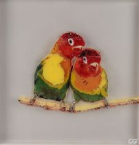 Chris Giles (British Contemporary) Polly and Polly, paint on multi Perspex panels, CG 18 to the