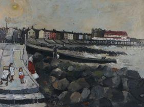 John Ash (1926-1999) Children on a pier, signed oil on board, 101cm x 75cm