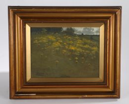 E Kent (early 20th Century British school) Yellow bloom in a hilly landscape, signed oil in