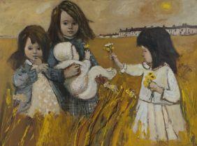 John Ash (1926-1999) Children in a field, signed oil on board, 100cm x 75cm
