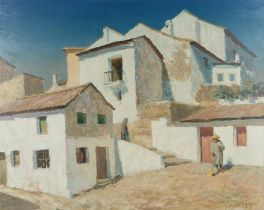 Alan Stenhouse Gourley, PROI (Scottish, 1909-1991) Village scene with white wash buildings, signed