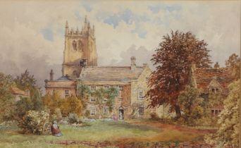 19th Century British school, Church and manor house with gardens, monogram bottom corner HB, 53.