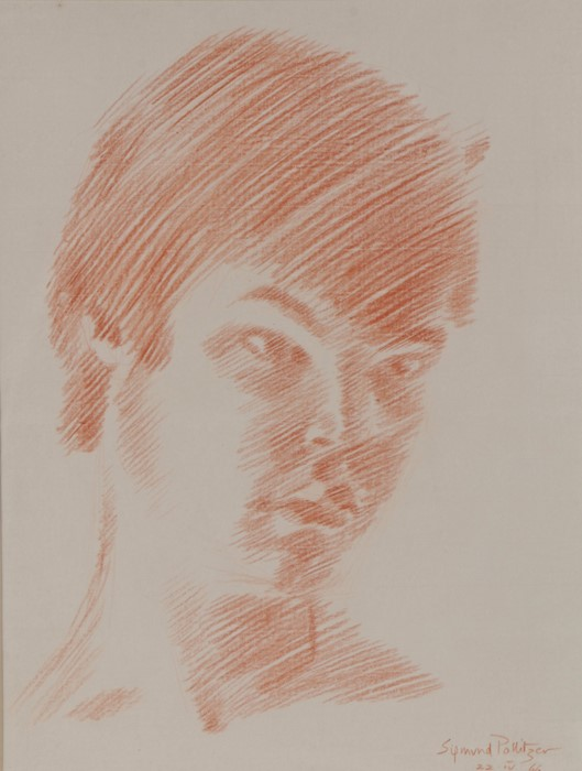 Sigmund Pollitzer (British, 1913-1982) Head of a Young Man, signed and dated 66, chalk, 43cm x