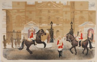 After Stella Marsden, Horse Guards Parade, lithograph for School Prints Ltd, 76cm x 49cm