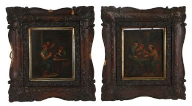 After David Teniers (1610-1690) A pair of Tavern scenes depicting men sitting around a table