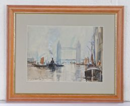 Edward Wesson (1910-1983), Thames scene with Tower Bridge and boats to the foreground, signed