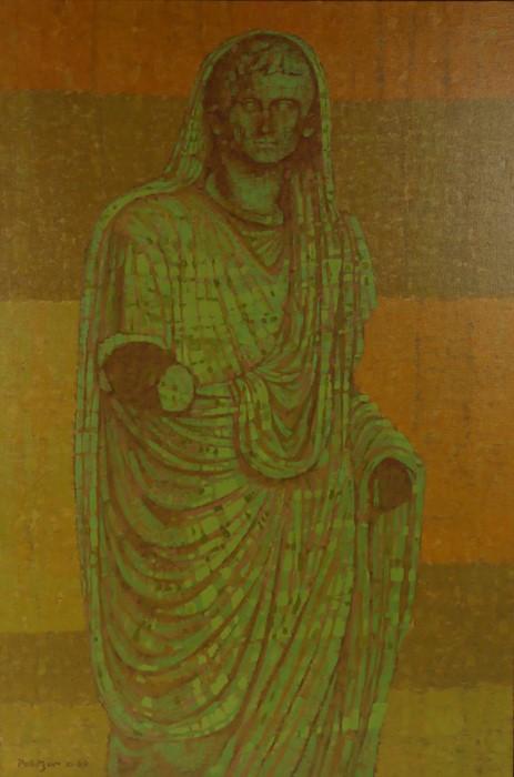 Sigmund Pollitzer (British, 1913-1982) Roman Statue, signed and dated 69, oil on canvas, 60cm x 91cm